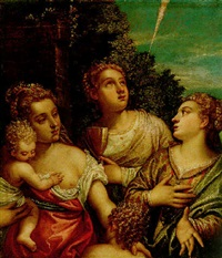 allegory of the theological virtues: faith, hope and charity by benedetto caliari