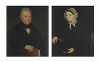portraits: a man holding a book and his wife (pair) by ammi phillips