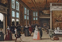 a palace interior with elegant couples courting at a ball by louis de caullery