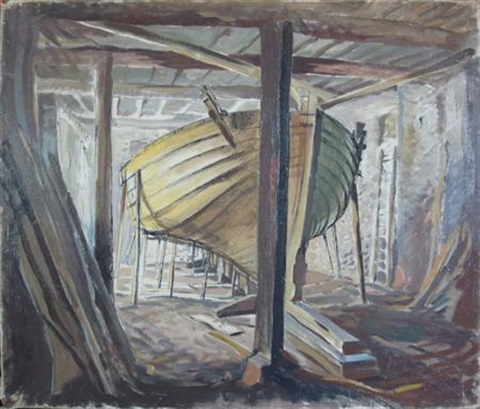 boat yard by dame laura knight
