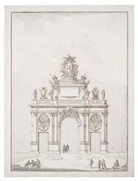triumphal arch dedicated to pope clement xiii and figures by paolo posi