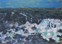 turbulent seas off godley heads, lyttleton by duncan darroch