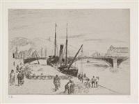 quai de rouen (grand pont). (d. 172) by camille pissarro