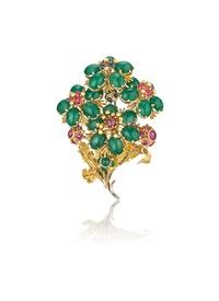 emerald, sapphire, and ruby brooch by buccellati