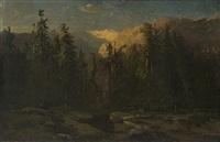 paesaggio boschivo con torrente by alexandre calame