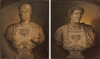 bust of vespasian (+ bust of nero; pair) by sir james thornhill