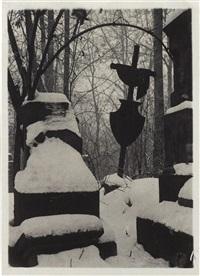 mala strana cemetery in the snow by josef sudek