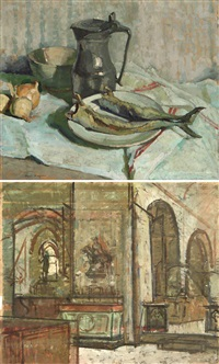 nature morte aux harengs (+ interieur d'église; verso) by paul hughes