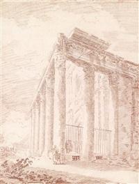 der tempel des antoninus pius und der faustina by hubert robert