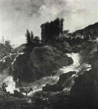 italianate landscape with drovers and livestock by t. wrightson
