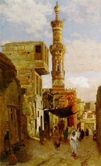 street view in cairo with mosque by william graham