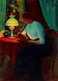 girl reading by géza kádár