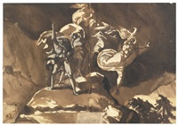 the witches floating above macbeth and banquo by henry fuseli