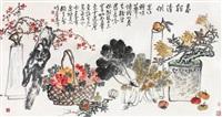 岁朝清供 镜片 设色纸本 ( year offerings) by zhao yunhe