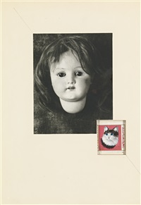untitled (doll's head and kitty stamp) by joseph cornell