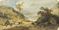 landscape with a herder and cattle resting by a path by george chinnery