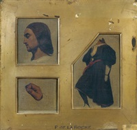 une tête de profil (after raphaël), un corps (after raphaël) et une main de profil (after giorgione) (3 works) by paul hippolyte delaroche
