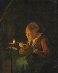 an old woman eating porridge by candlelight by gerrit dou