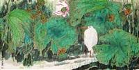 荷花鹭鸟 by lin decai