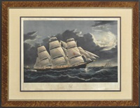 "clipper ship ""dreadnought"" off tuskar light by duncan mcfarlane"