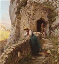 bäuerinnen vor mediterraner kulisse (capri?) by horace fisher