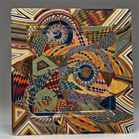 untitled square charger with birds by ralph bacerra