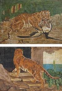 tigre au temple et tigre attaquant un ibis by henri rousseau