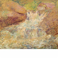 waterfall, greenwich by john henry twachtman