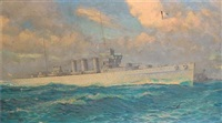 the cruiser h.m.s. cumberland at sea in a heavy swell by william mcdowell