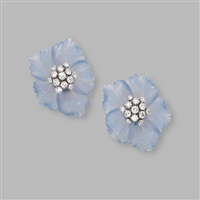 a pair of earclips designed as flowerheads by aletto brothers (co.)