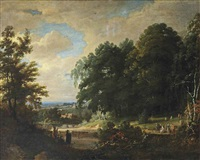 a forest landscape with figures making music and singing to an elegant company, a village beyond by jacques d' arthois