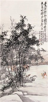 携琴访友 (landscape) by wang kun and wang yixian