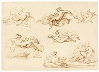 seven studies for leda and the swan by théodore géricault