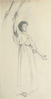 study of a draped figure with left arm raised by thomas cooper gotch