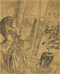 man gazing out of a window by kuz'ma sergeevich petrov-vodkin