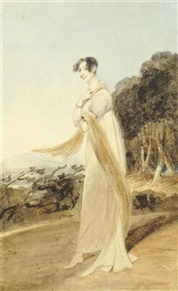 a lady standing full length in a wooded landscape by george chinnery
