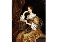 portrait of a lady, three-quarter-length, in a gold dress, seated before a curtain by sir peter lely