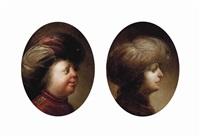 portrait of a gentleman, bust-length, in a red coat and turban (+ portrait of a gentleman, bust-length in profile, in a red coat and white turban; pair) by jan van de venne