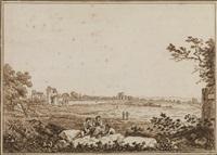paesaggio con figure davanti all acquedotto claudiano by carlo labruzzi