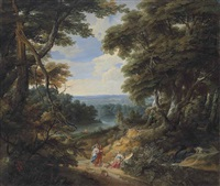 a wooded landscape with figures and a dog on a path, with a river and a castle in the distance by jacques d' arthois