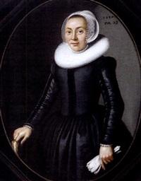 bildnis einer dame in dunklem kleid mit einer mühlsteinkrause by gerard van donck