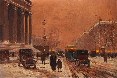 paris place de la madeleine im winter by edouard léon cortès