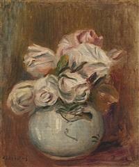 roses blanches dans un vase by pierre-auguste renoir