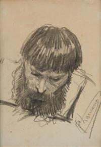 étude de tête d'homme (study) by jean paul laurens