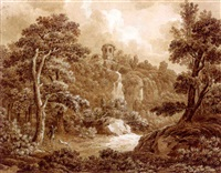 an arcadian landscape with a huntsman and his dog (+ a seated peasant woman, verso) by johann sebastian bach the younger