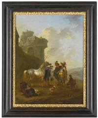 a horsetrader displaying his wares and a peasant feeding horses by a rocky archway (pair) by august querfurt