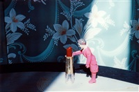 pushing lipstick (purple woman) (from early color interiors) by laurie simmons