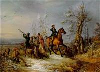 winterliche jagdgesellschaft by josef ginovsky