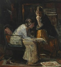 interior with two women speaking by herman albert gude vedel
