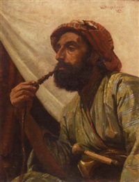 portrait of a man smoking a hookah by w. savage cooper